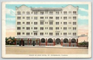 St Petersburg Florida~Ponce de Leon Hotel~Arched Entryway~1930 Postcard