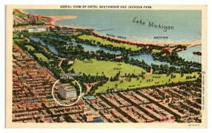 Aerial View of Hotel Southmoor and Jackson Park, Chicago, IL Postcard *5N15