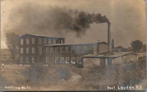 Port Leyden NY~Knitting Mill~Factory Blows Black Smoke~Employs Girls~1910 RPPC