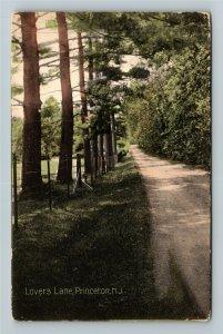 Princeton NJ-New Jersey, Lovers Lane, Vintage Postcard