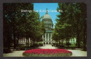 WI Greetings From Richland Center Ctr Wisconsin Postcard State Madison