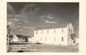 RPPC Leroy Motel-Hotel Custer, South Dakota Mr & Mrs Louis Walser Postcard 1950s
