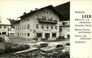 austria, BRUCK a.d. Großglocknerstraße, Pension Leeb, Cars (1950s) RPPC Postcard