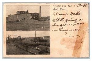 1905 Greeting From Fort Scott Kansas Vintage Standard View Postcard