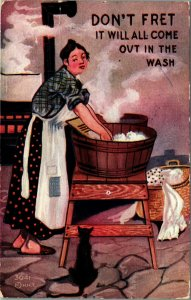 HH Tammen Don't Fret It Will All Come Out in the Wash Embossed Postcard 1911