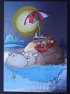 HIPPO & MOUSE SUNBATHING c1980's by F J Warren DUFEX FOIL Postcard 501844