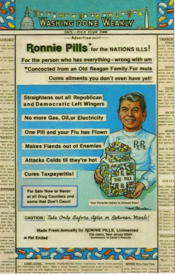 Artist Signed Postcard, Political Satire Ronald Reagan Ronnie Pills