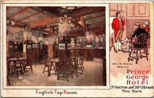 Postcard NY New York City NYC Prince George Hotel English Tap Room Post 1915