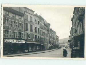 old rppc GREAT VIEW OF SHOPS ALONG THE STREET Tarare - Rhone France HM2193