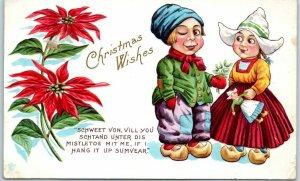 Vintage Holiday Greetings Postcard Christmas Wishes Dutch Boy & Girl 1914