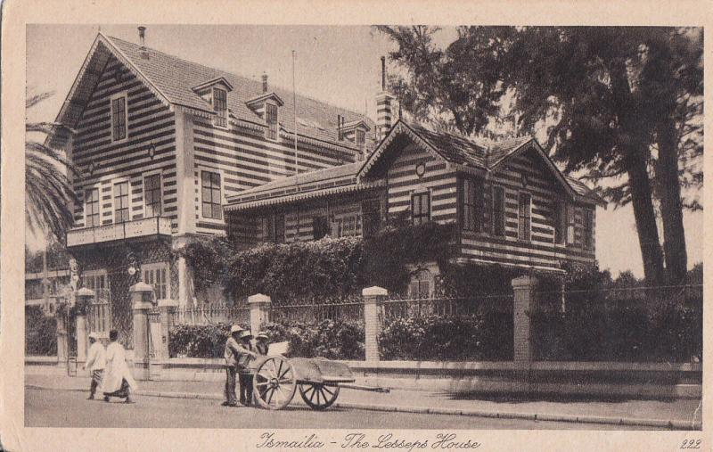 ISMAILIA THE LESSEPS HOUSE ANIMATED VINTAGE POSTCARD