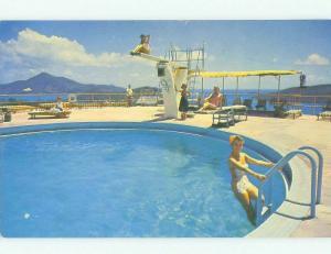 Pre-1980 risque BATHING SUIT GIRL AT VERSION ISLE HOTEL St. Thomas USVI hr4915