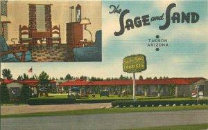 Tucson Arizona Sage and Sand Tourist Hotel Apartments Thomas Postcard 21-8491