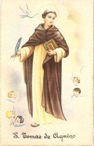 Santo Tomás de Aquino Nice vintage Spanish relligious postcard