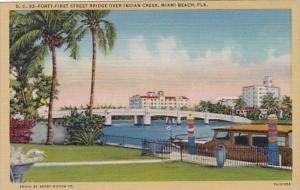 Florida Miami Beach Forty-First Street Bridge Over Indian Creek Curteich