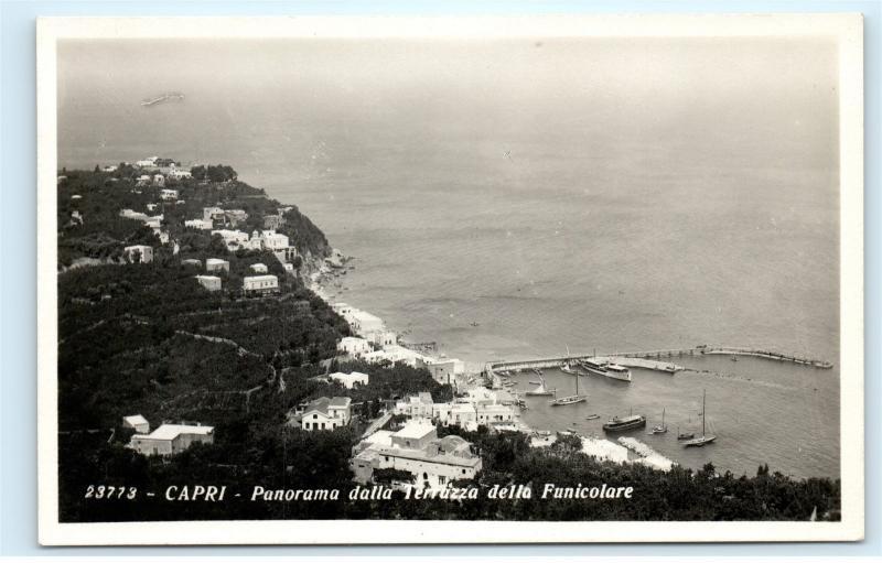 Capri Italy Panorama dalla Terrazza della Funicolare Vintage Photo ...