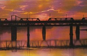 Sunset View Of Railway and Traffic Bridges Prince Albert Saskatchewan Canada