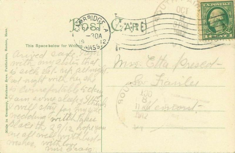 Cambridge Massachusetts, First Universalist Church 1912 Postcard