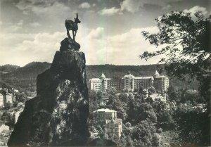 Postcard CZECH REPUBLIC Karlovy vary le saut du cerf goat stone rock cliff