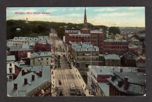 ME State Street BANGOR MAINE Postcard PC Trolley Car