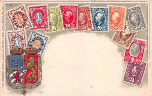 Sweden, Classic Stamps in Actual Colors, Early Embossed Postcard, Unused