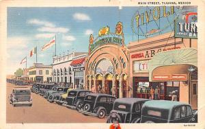Tijuana Mexico Postcard Tarjeta Postal Main Street Looking South Tijuana