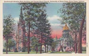 Indiana Notre Dame Quadrangle Showing Main Building And Sacred Heart Church U...