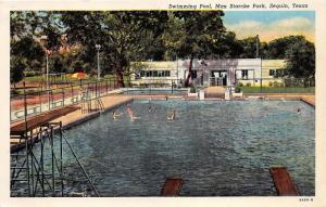 Seguin Texas~Max Starcke Park-People in Swimming Pool~Bath House~Swingset~1939