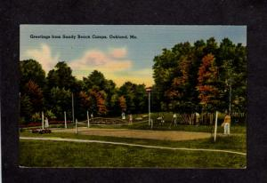 ME Greetings From Sandy Beach Camps Oakland Maine Linen Postcard