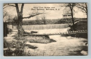Belvidere NJ-New Jersey, Stave Foot Bridge Over Race Spillway, Vintage Postcard