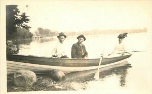 C-1910 Woman Man Rowboat recreation RPPC Photo Postcard 1098
