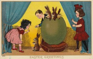 EASTER, 00-10s; Greetings, Children, rabbits coming out of a giant eggshell