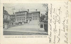 Fitchburg Mass.~Wallace Way & High School Bldg.~Globe Lamps Line the Stairs~1905