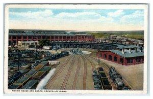 POCATELLO, Idaho ID ~ Trains ROUND HOUSE & SHOPS c1920s  Railroad Postcard