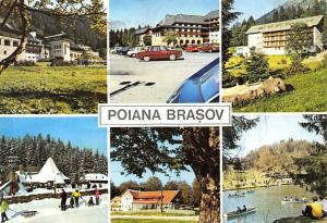 Romania Poiana Brason multiviews Pension Hotel Auto Dacia Cars Lake Boats Winter