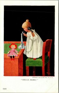 Vintage Postcard Happy New Year Hello Mama TELEPHONE Ullman Manufacturing Co NY