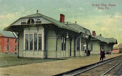 Nickel Plate Depot, Erie, Pennsylvania, PA, USA Railroad Train Depot Postcard...