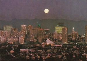 Canada Vancouver Full Moon Over The Evening Skyline