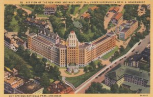 HOT SPRINGS, Arkansas, 1930-40s; Air View of the New Army & Navy Hospital