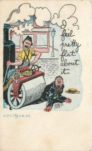 Comic~I Feel Pretty Flat About It~Steamroller Backs Over Man~Artist Signed
