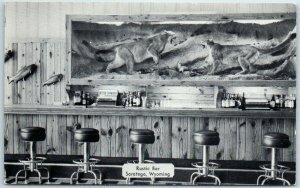 Saratoga, Wyoming Postcard RUSTIC BAR Interior View Dexter Chrome Dated 1956