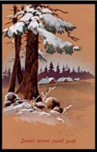 1927 Latvia Beautiful Hand-Colored Winter scene Latvian Postcard