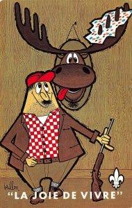 La Joie De Vivre La Chasse Hunting Comic Brillon Art 1970 Vintage Postcard