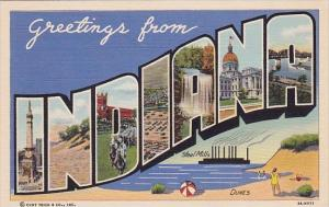 Greetings From Steel Mills Dunes Indiana Large Letter Linen