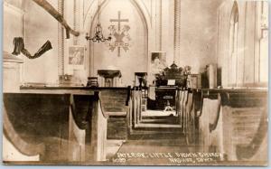 Vintage Nashua, Iowa RPPC Real Photo Postcard Interior, LITTLE BROWN CHURCH