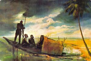 Lovely Rare 1971 Vintage Art Postcard of Fishermen at Kuramo, Nigeria 39H