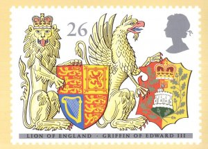 Griffin Of Edward III Lion Of England Shield Heraldry FDC Postcard