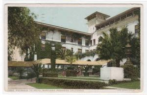 Hotel Maryland Entrance Pasadena California 1917 postcard