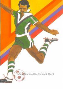 Original Artwork by Robert Peak, 1984 Summer Olympics Soccer Stamp Olympic Un...