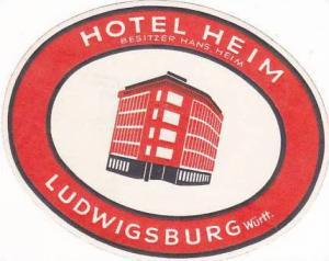 GERMANY LUDWIGSBURG HOTEL HEIM VINTAGE LUGGAGE LABEL